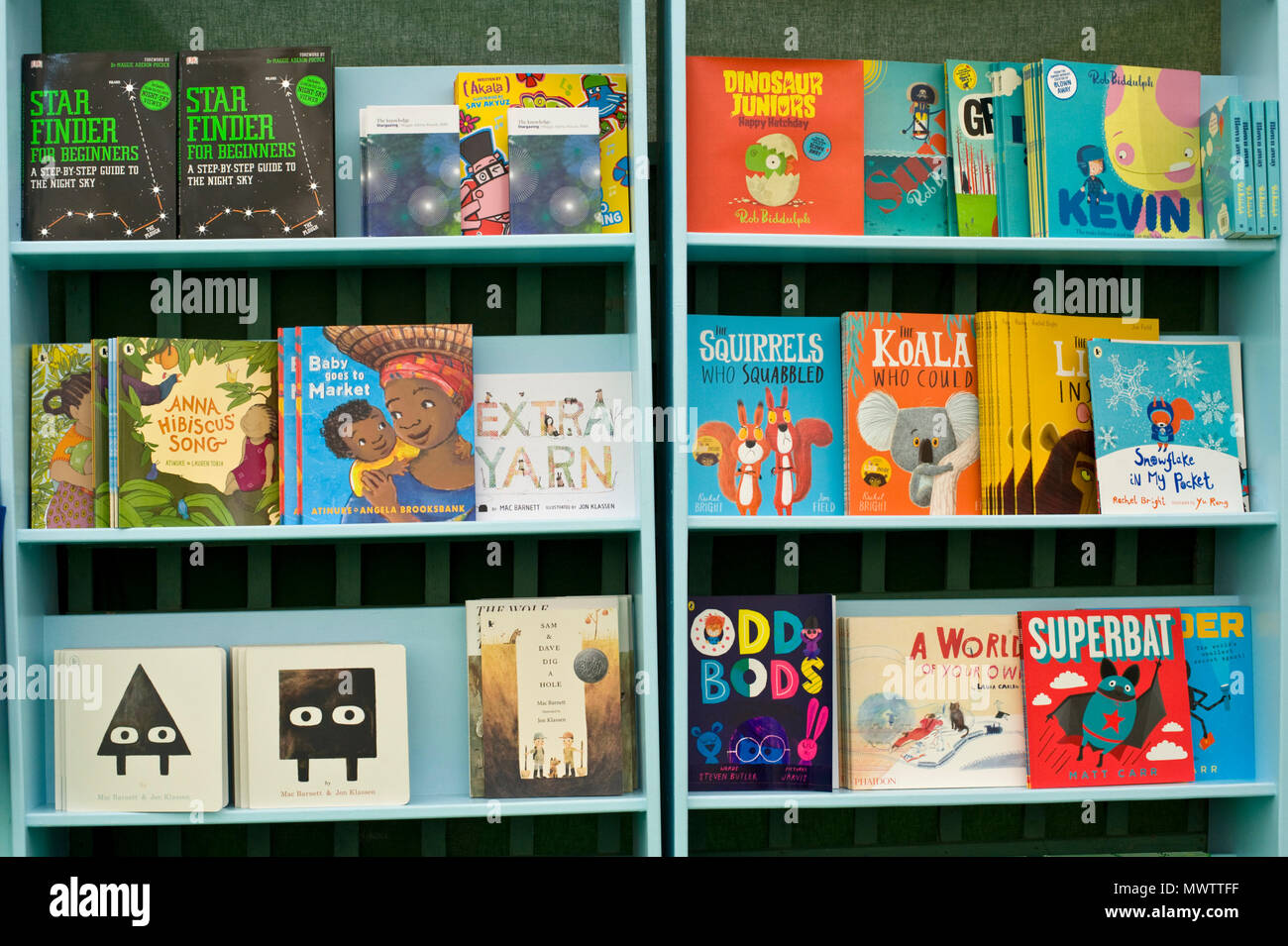 Selection of children's books in the bookshop at Hay Festival 2018 Hay-on-Wye Powys Wales UK - Stock Image