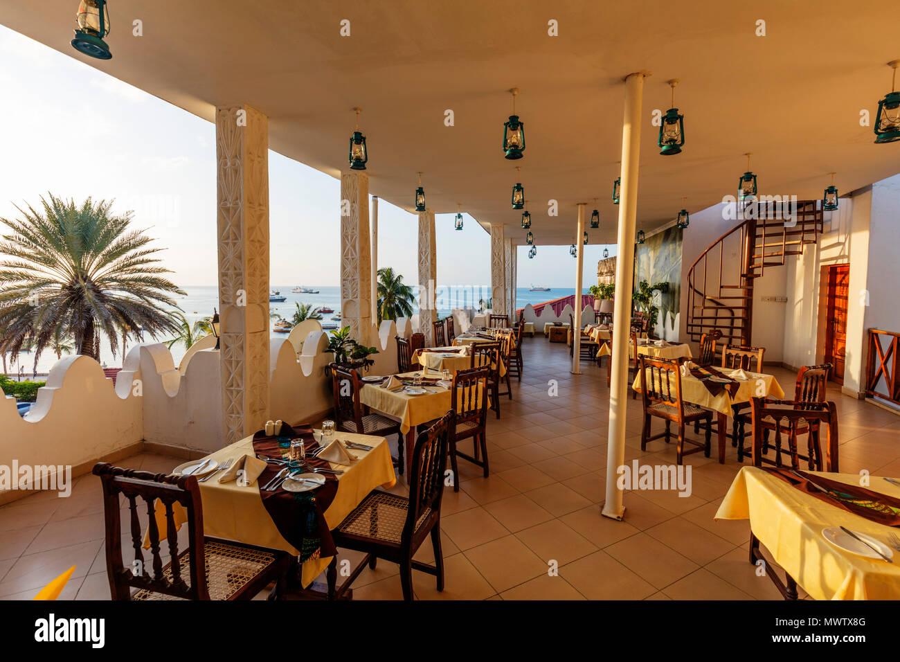Dining room of The Seyyida Hotel and Spa, Stone Town, Island of Zanzibar, Tanzania, East Africa, Africa - Stock Image