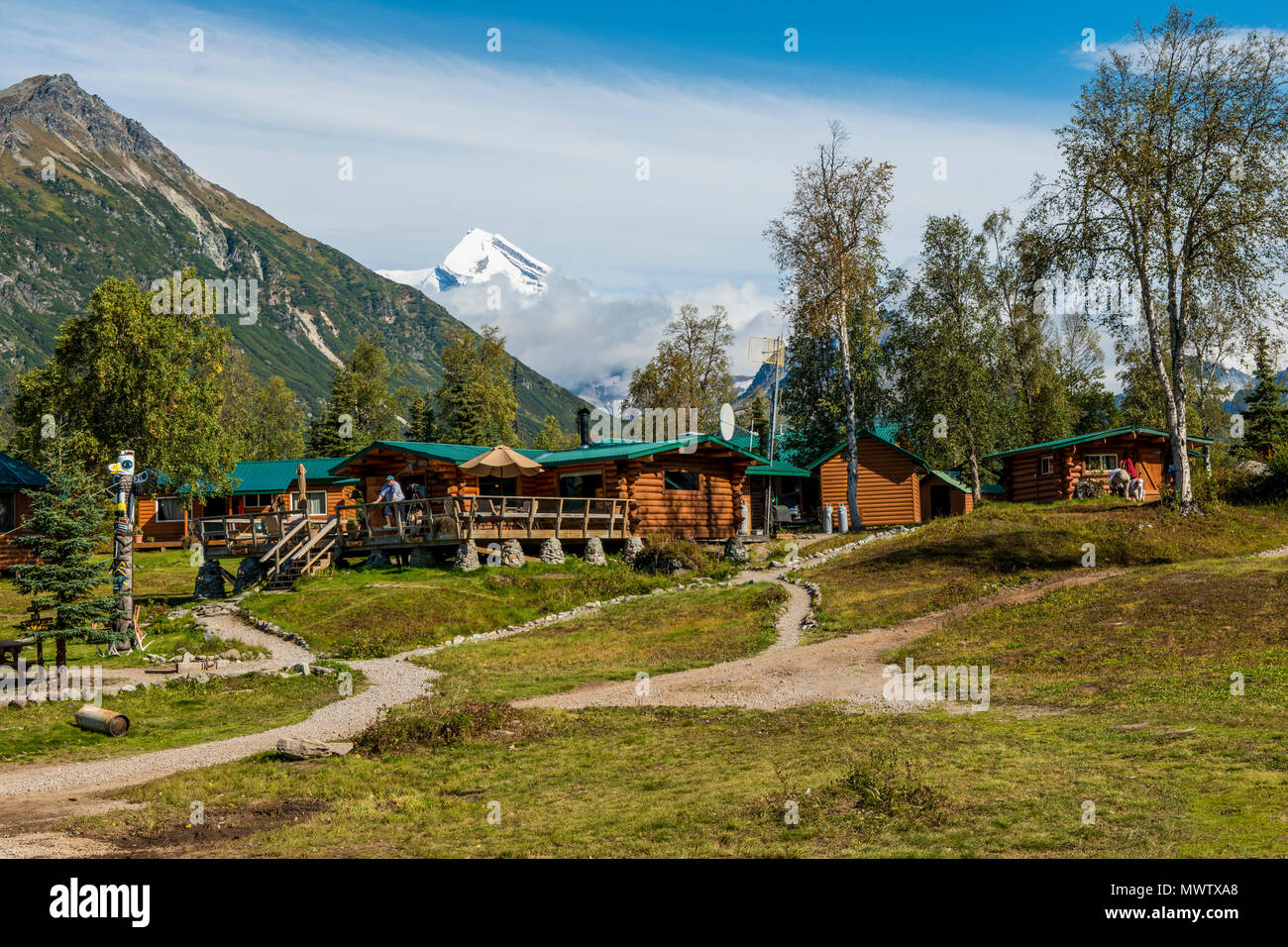 Redoubt Mountain Lodge on Crescent Lake, Lake Clark National Park and Preserve, Alaska, United States of America, North America - Stock Image