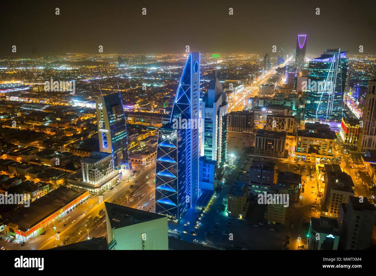 View over Riyadh from the Al Faisaliyah Centre skyscraper, Riyadh, Saudi Arabia, Middle East - Stock Image