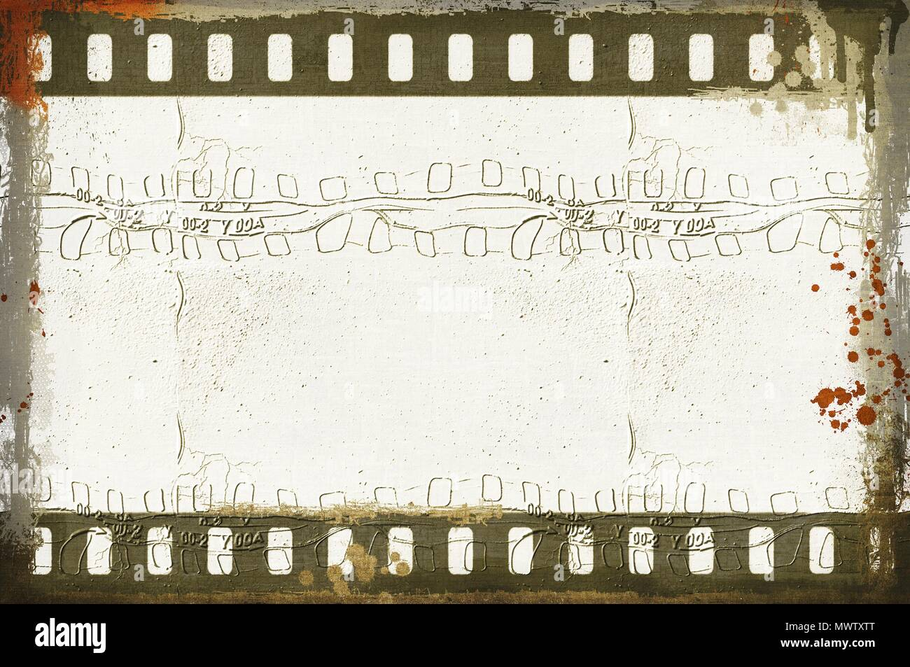 Grunge dripping film strip frame in sepia tones. Stock Photo