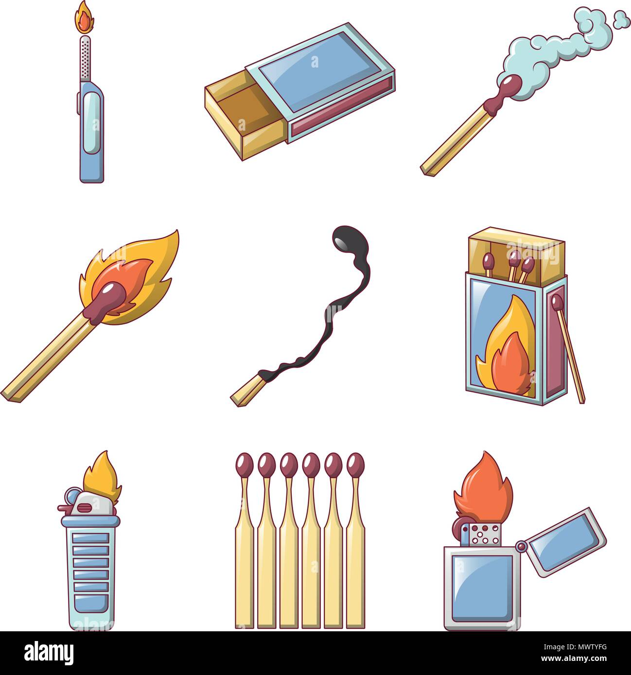 Safety match ignite burn icons set, cartoon style - Stock Image