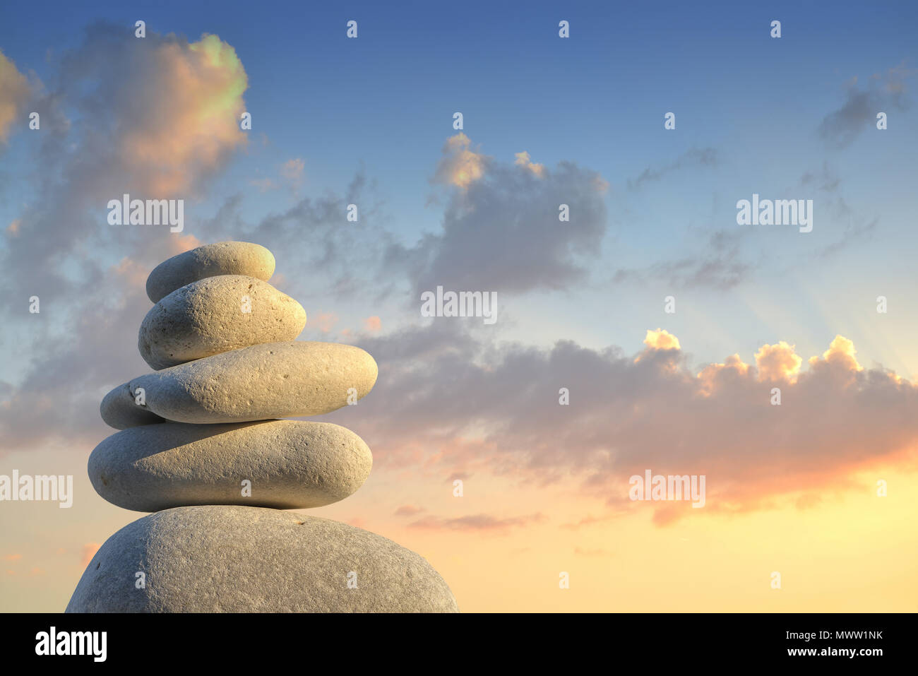Stone pyramid in the evening light Stock Photo