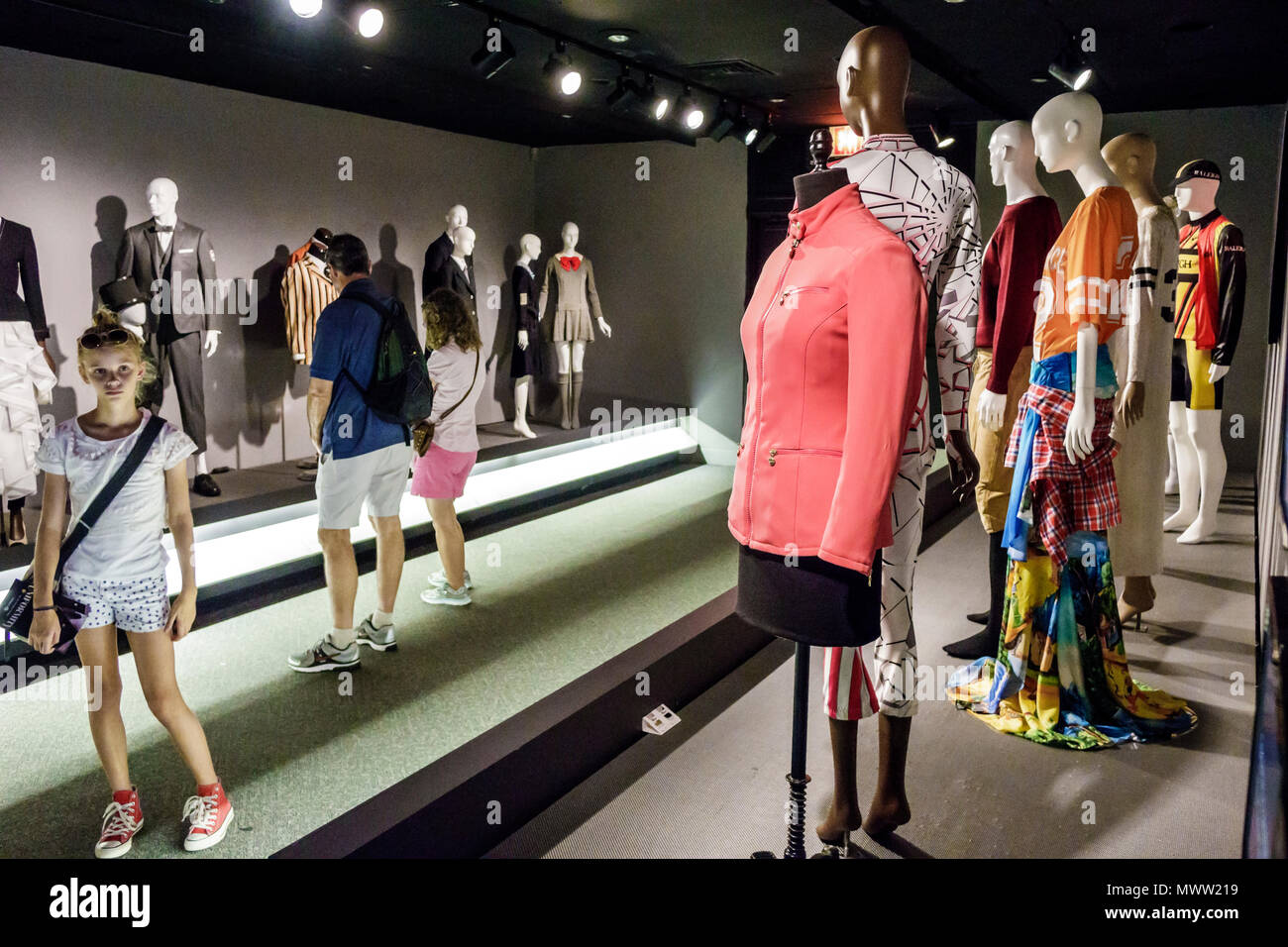 Manhattan New York City NYC NY Chelsea Museum at FIT Fashion & Textile History Gallery Uniformity exhibition design un - Stock Image