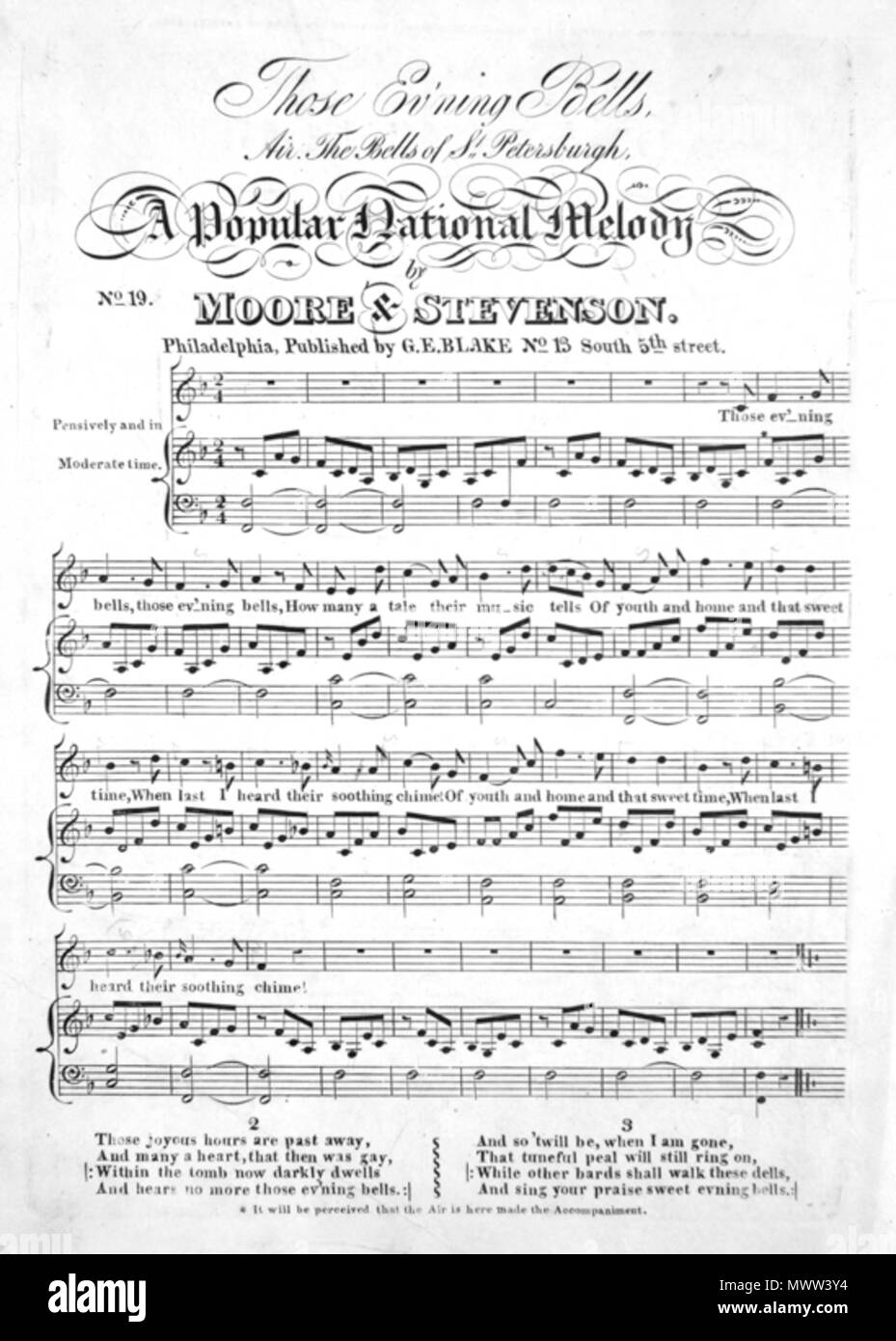 . Page from «Selection of Popular National Airs» with verse 'Those Evening Bells' by Thomas Moore. Music by sir John Stevenson (1761-1833) . 1818. Unknown 606 Those Evening Bells - Stock Image