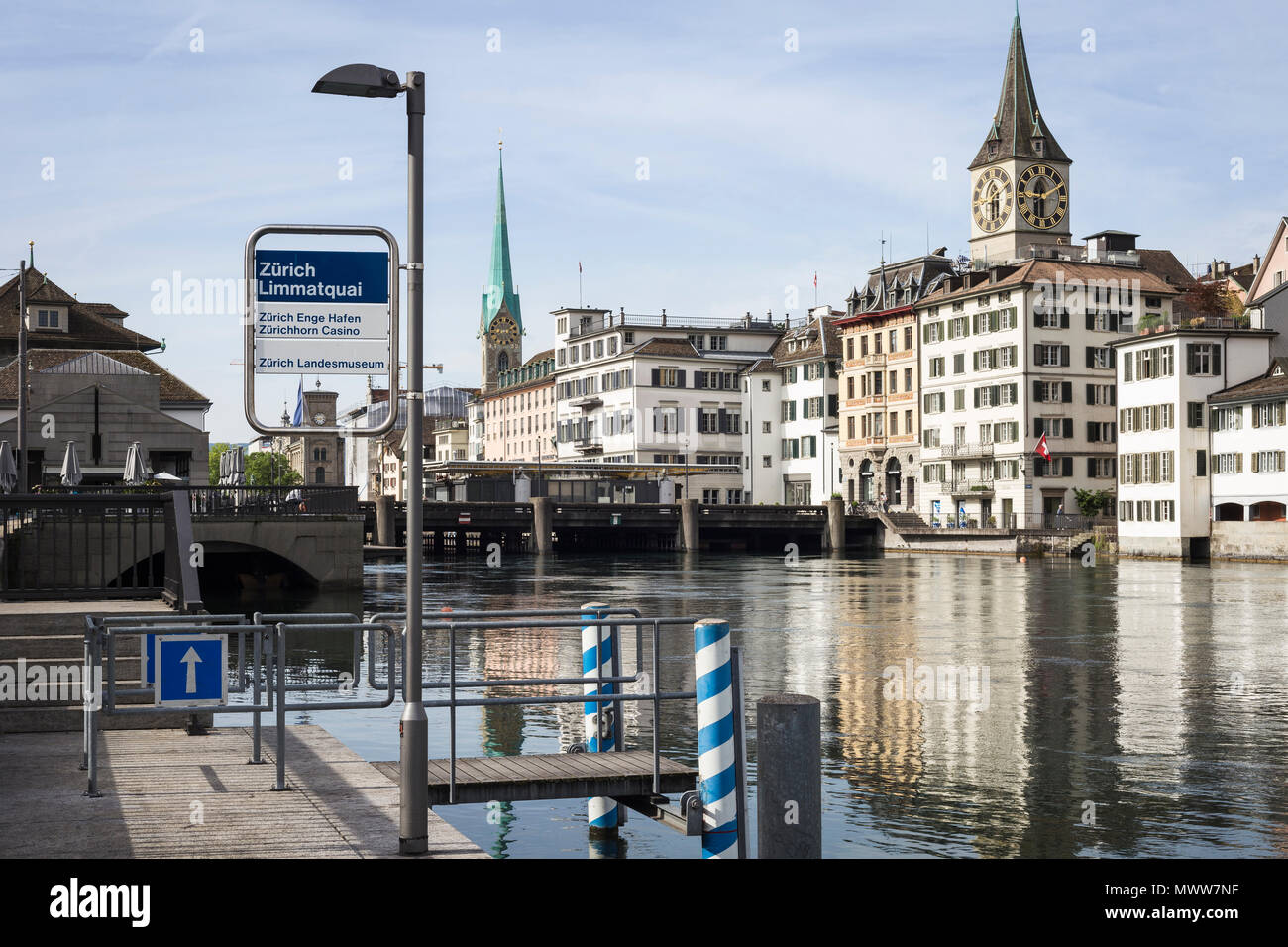 The Limmat river in Zurich's Old Town, Canton of Zurich, Switzerland - Stock Image