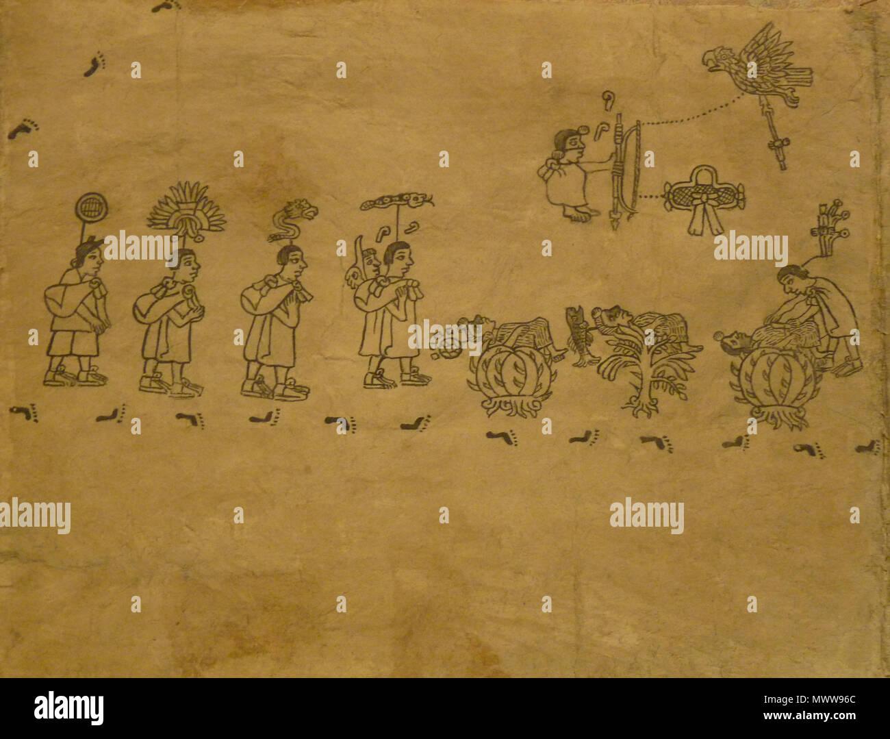 . Codex Boturini (also known as Tira de la peregrinación), folio 4 . First half of 16th century. Unknown (codex) - El Comandante (photographer) 94 Boturini Codex (folio 4) - Stock Image