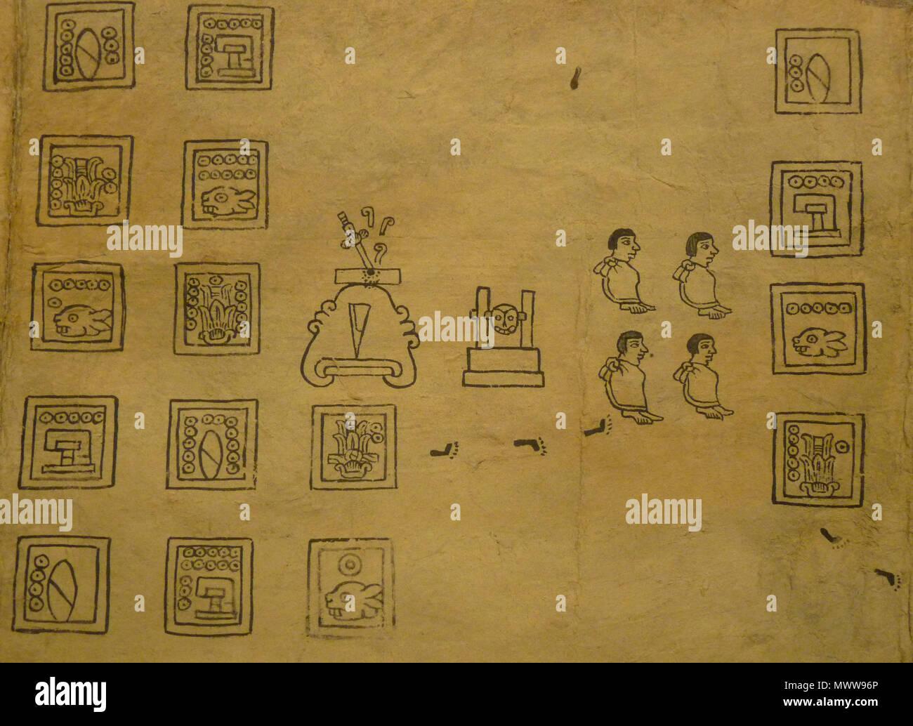 . Codex Boturini (also known as Tira de la peregrinación), folio 10 . First half of 16th century. Unknown (codex) - El Comandante (photographer) 94 Boturini Codex (folio 10) - Stock Image