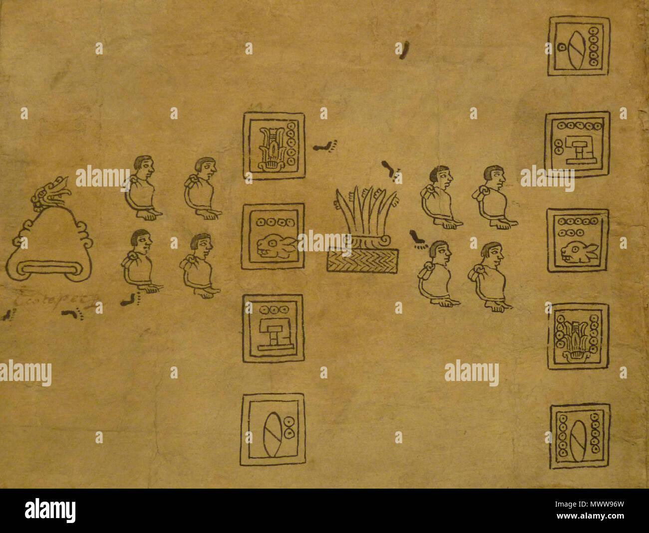 . Codex Boturini (also known as Tira de la peregrinación), folio 12 . First half of 16th century. Unknown (codex) - El Comandante (photographer) 94 Boturini Codex (folio 12) - Stock Image