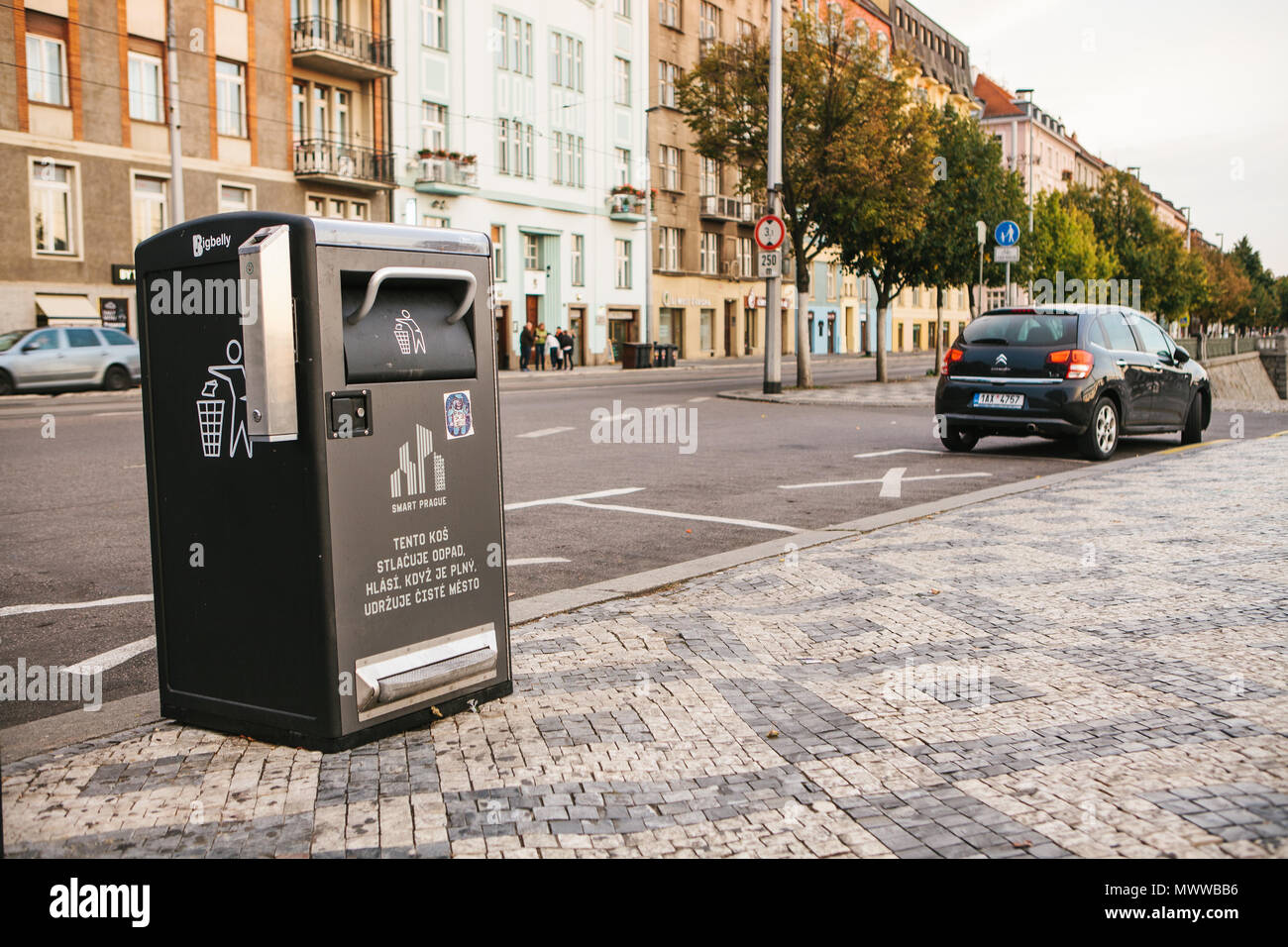 Prague, September 23, 2017: A modern smart trash can on the street of the city. Collection of waste in Europe for subsequent disposal. Eco-friendly waste collection. - Stock Image