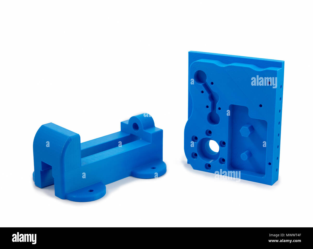 Industrial Machine Parts Printed With 3D Printer - Stock Image