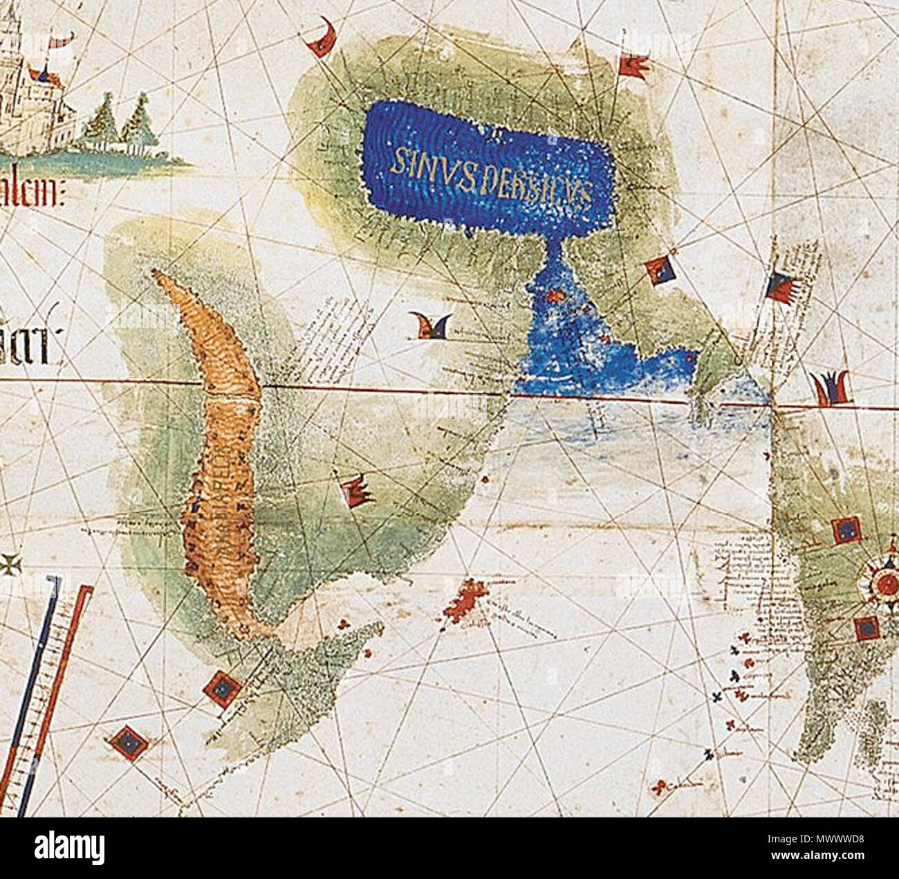 Most Detailed World Map.Enlarged Detail Showing Red Sea And Persian Gulf As Viewed In 1502