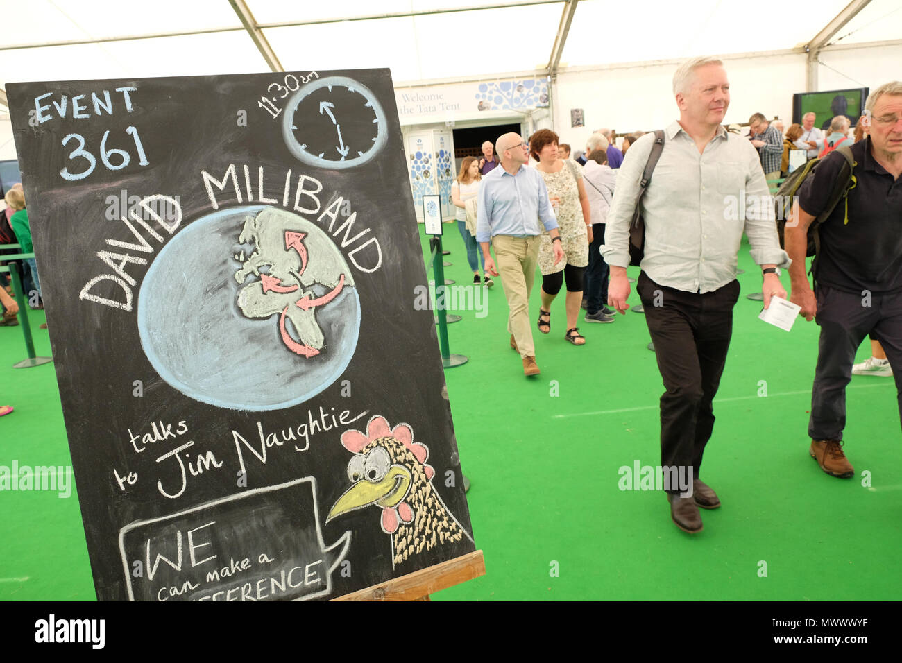 Hay Festival, Hay on Wye, UK. 2nd June 2018. Hay Festival.  Guests arrive for the David Milliband session at the Hay Festival - Milliband is President of the International Rescue Committee - Photo Steven May / Alamy Live News - Stock Image