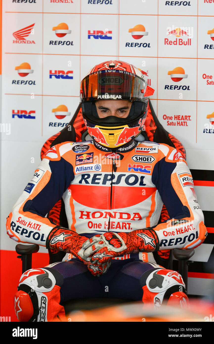 Florence Italy 2nd June 2018 Marc Marquez Of Spain And Repsol