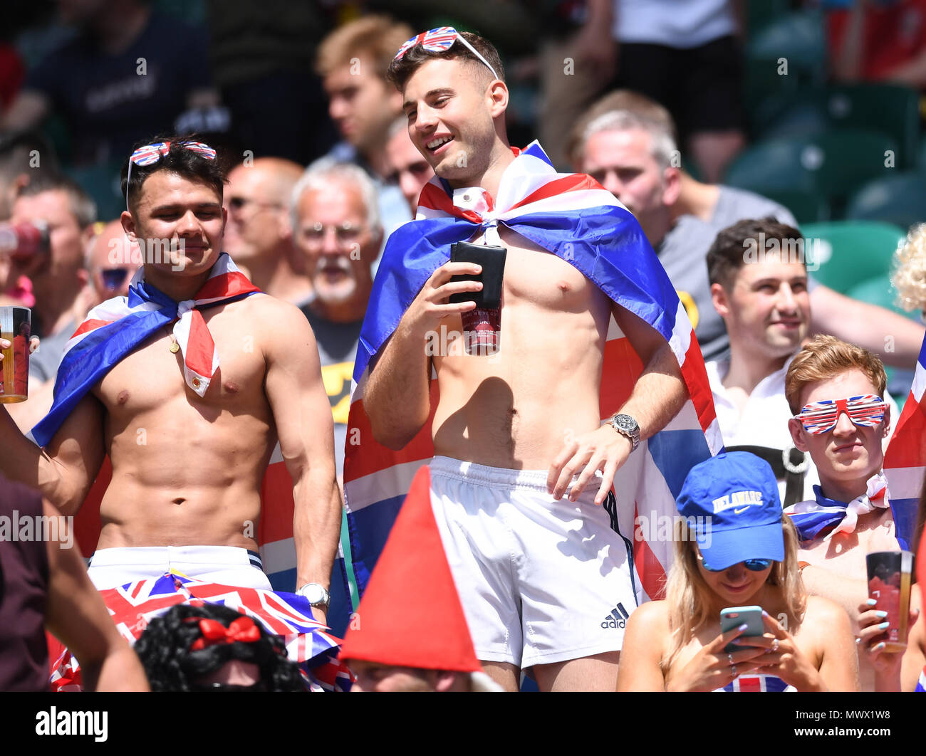 Twickenham Stadium, London, UK. 2nd June, 2018. HSBC World Rugby Sevens Series, England fans show their support for their team Credit: Action Plus Sports/Alamy Live News Stock Photo