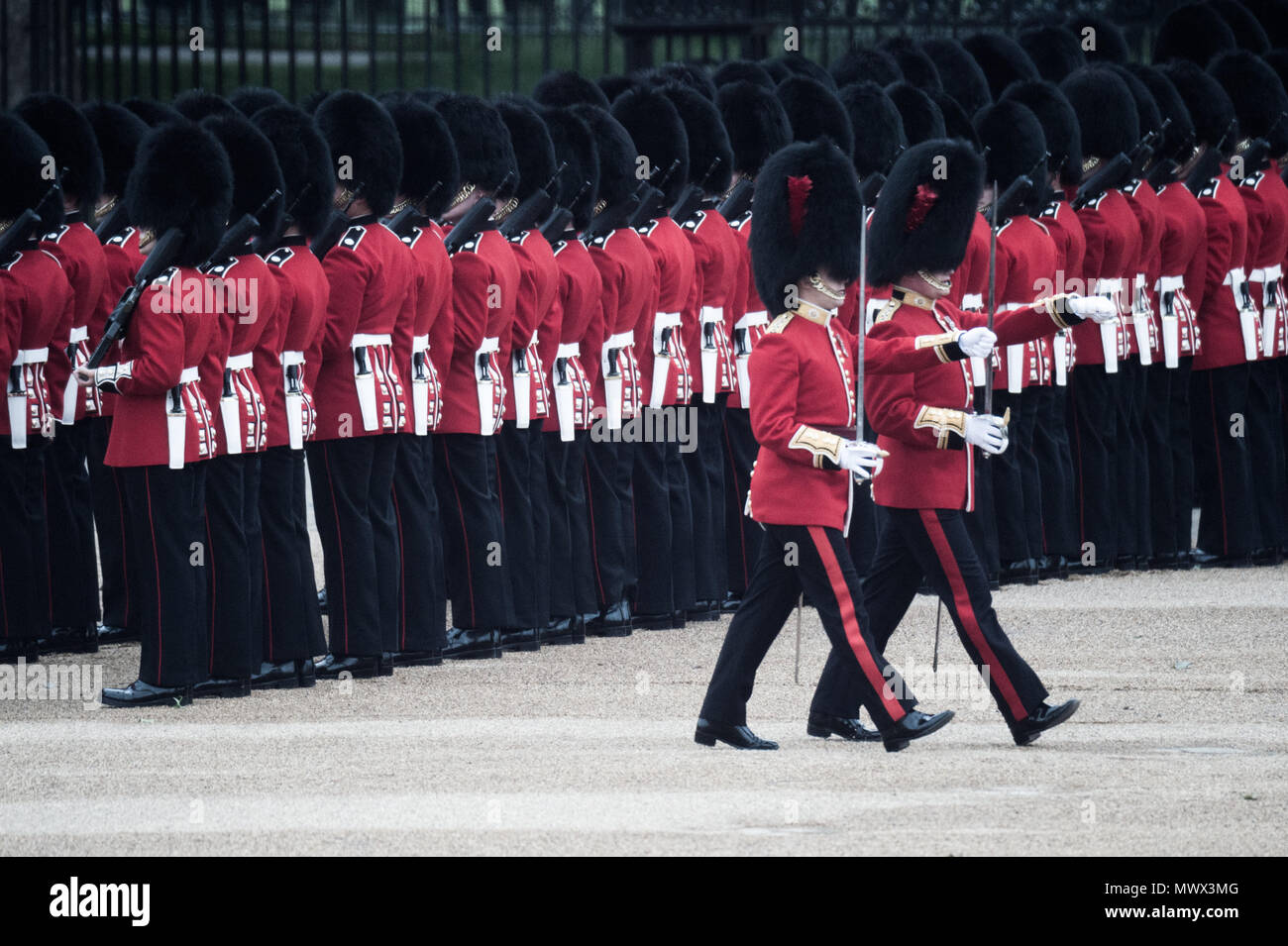 London, UK. 2nd June, 2018. Members of the Royal Guard are seen marching during the Colonel's Review.Soldiers rehearse their steps as they prepare for Trooping the Color to mark the Queen's official birthday next week. More than 1,400 officers and men are on parade along with 200 horses, 400 musicians from ten bands and corps of drums march. Lieutenant General Sir James Jeffrey Cofield Becknell, will take the salute. Credit: Brais G. Rouco/SOPA Images/ZUMA Wire/Alamy Live News Stock Photo