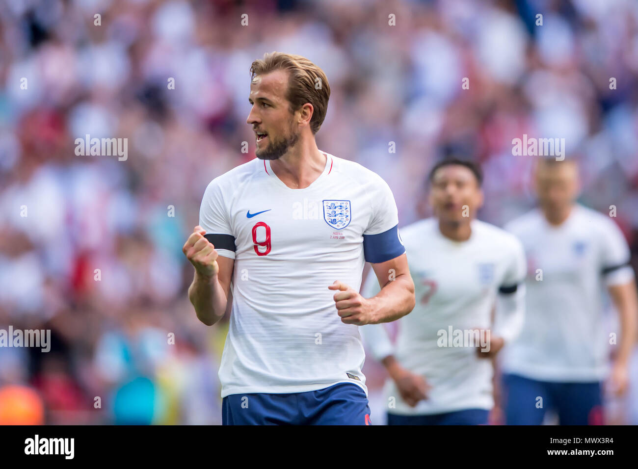 London, UK. 2nd June 2018. Harry Kane of England celebrates scoring his side second goal during the International Friendly match between England and Nigeria at Wembley Stadium, London, England on 2 June 2018. Credit: THX Images/Alamy Live News Stock Photo