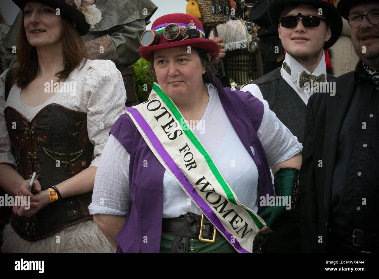 Suffrage in Lancashire, UK. 2nd June 2018.  A Splendid Day Out, a full weekend of Steampunk entertainments in the charming Victorian seaside retreat of Morecambe Credit: MediaWorldImages/Alamy Live News Stock Photo