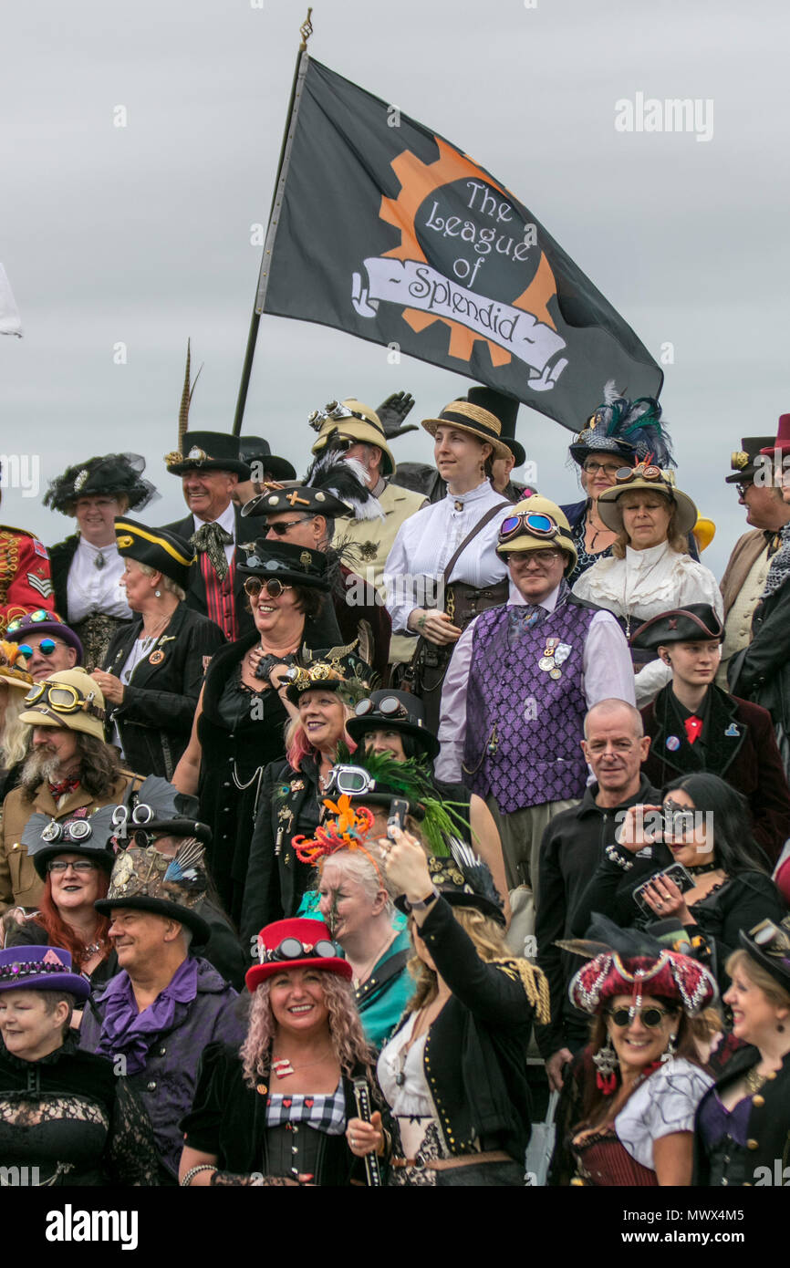 Lancashire, UK. 2nd June 2018.  A Splendid Day Out, a full weekend of Steampunk entertainments in the charming Victorian seaside retreat of Morecambe Credit: MediaWorldImages/Alamy Live News - Stock Image