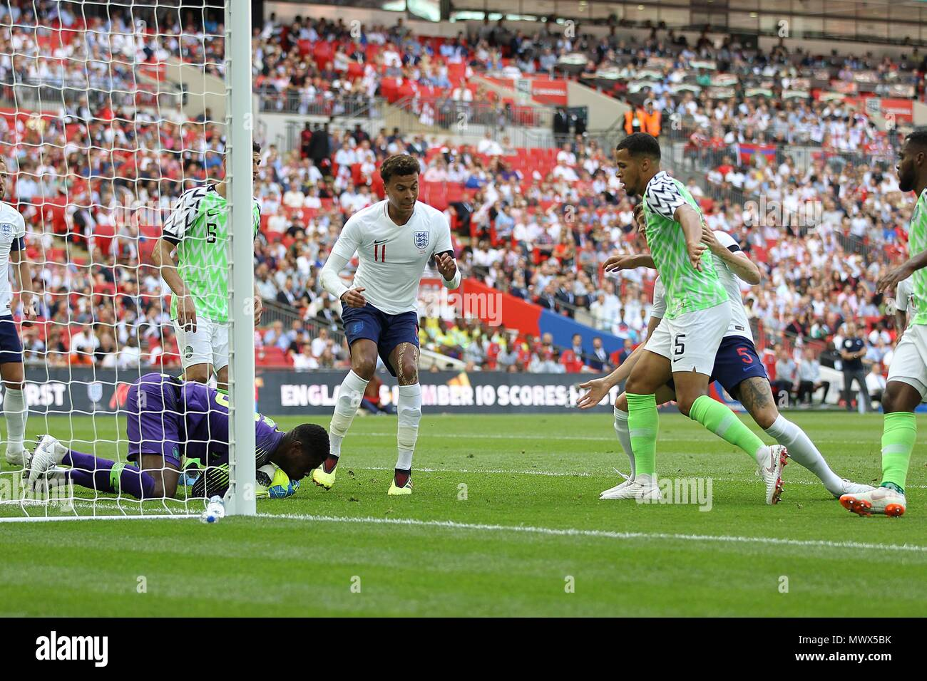 London, UK. 2nd June 2018. London, UK. 2nd June 2018.London, UK. 2nd June 2018. Francis Uzoho of Nigeria saves at the feet of Dele Alli of England during the International Friendly match between England and Nigeria at Wembley Stadium on June 2nd 2018 in London, England. (Photo by Matt Bradshaw/phcimages.com) Credit: PHC Images/Alamy Live News Stock Photo