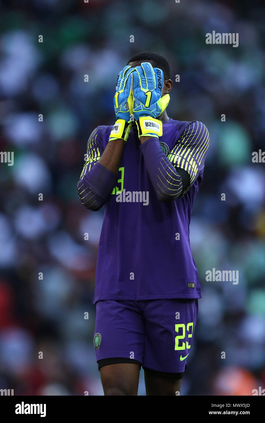 London, UK. 2nd June 2018.Francis Uzoho (N) puts his head in his hands at the England v Nigeria Friendly International match, at Wembley Stadium, on June 2, 2018. **This picture is for editorial use only** Credit: Paul Marriott/Alamy Live News Stock Photo