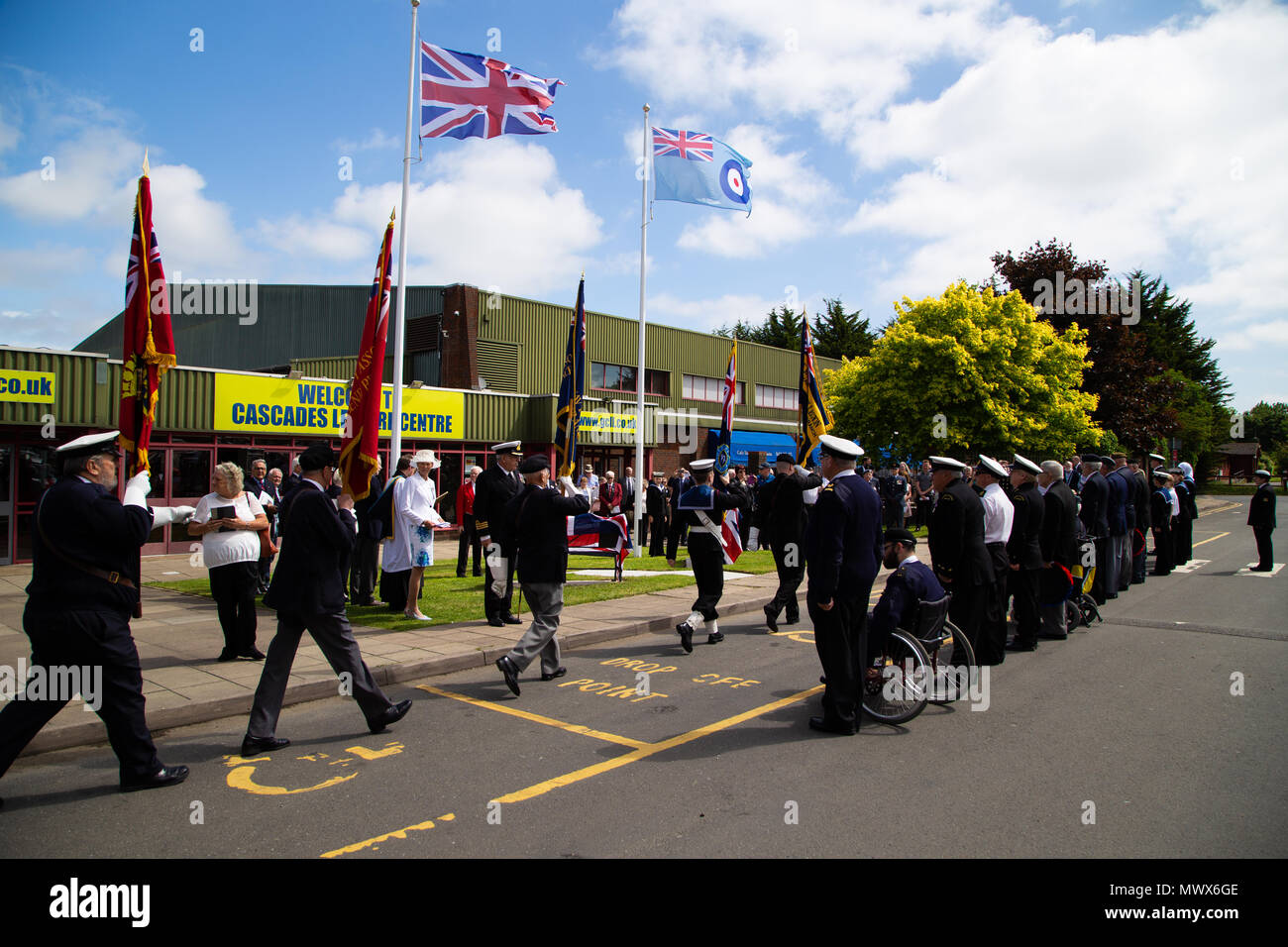 Gravesend Airport, Kent, UK. 2nd Jun, 2018. March in by the Royal British Legion Service Associations and cadets at the new bench memorial at cascades leisure centre which was once the site of Gravesend airport which played a vital role in the second world war. Credit A Beck/Alamy Live. Credit: Andrew Beck/Alamy Live News - Stock Image