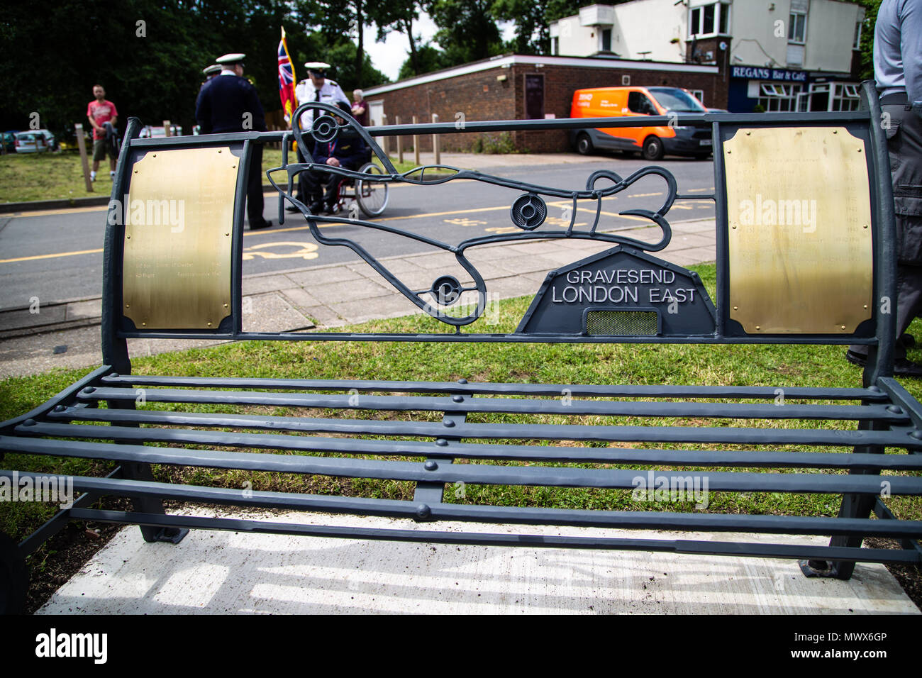 Gravesend Airport, Kent, UK. 2nd Jun, 2018. One of the two memorial benches unveiled at cascades leisure centre which is on the site of gravesend airport which saw action during the second world war. Credit A Beck/Alamy Live Credit: Andrew Beck/Alamy Live News - Stock Image