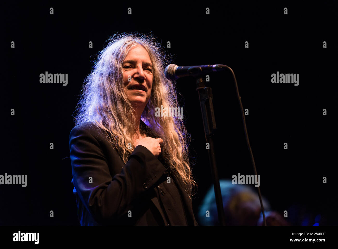 Brighton, East Sussex. 2nd June 2018. Iconic music legend Patti Smith and Her Band perform live at the Brighton Dome. Credit: Francesca Moore/Alamy Live News - Stock Image