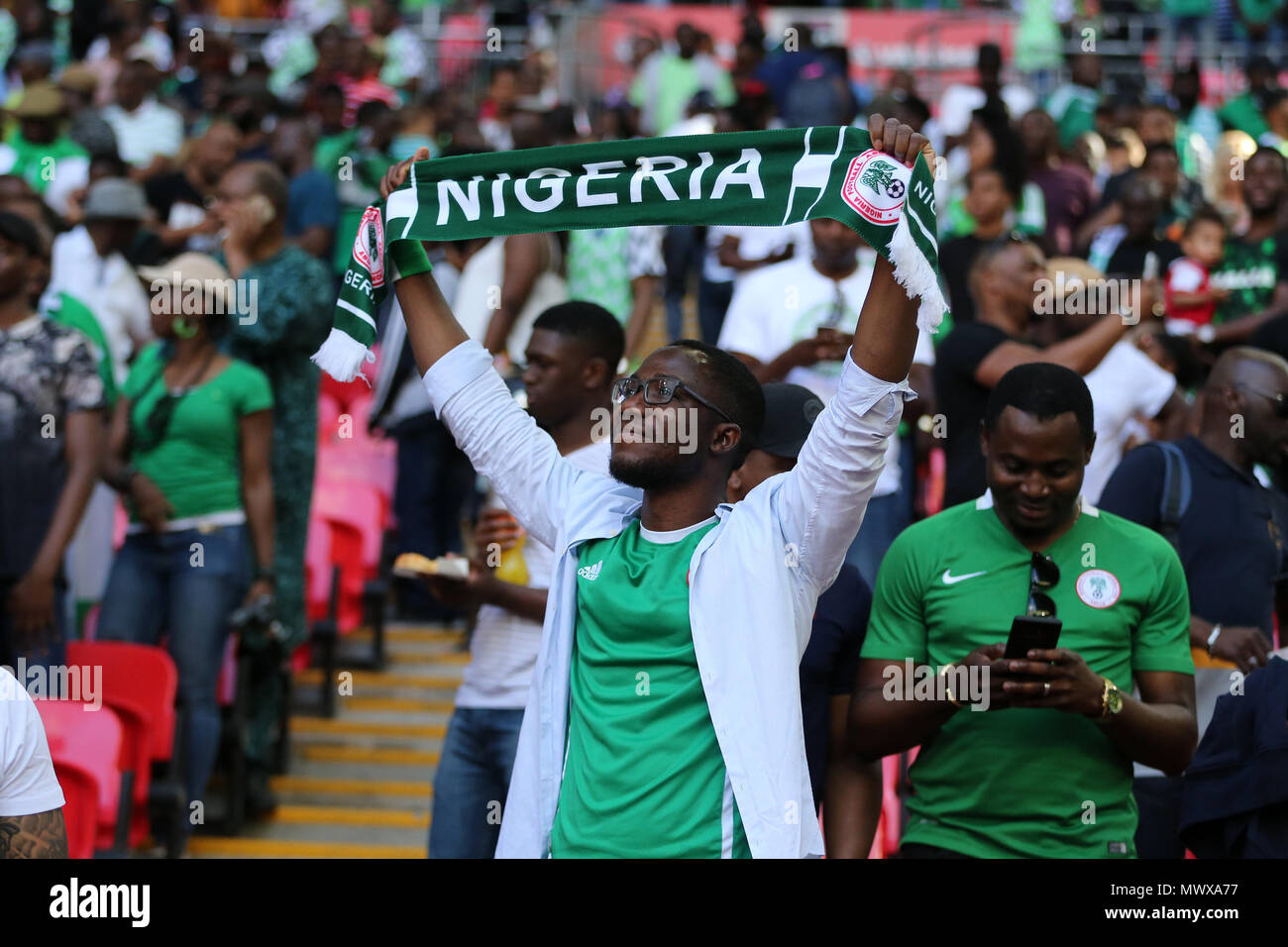 Wembley Stadium, London, UK. 2nd Jun, 2018. Nigeria fans . Football International friendly, England v Nigeria at Wembley Stadium in London on Saturday 2nd June 2018.  this image may only be used for Editorial purposes. Editorial use only, license required for commercial use. No use in betting, games or a single club/league/player publications. pic by Andrew Orchard//Andrew Orchard sports photography/Alamy Live news Stock Photo