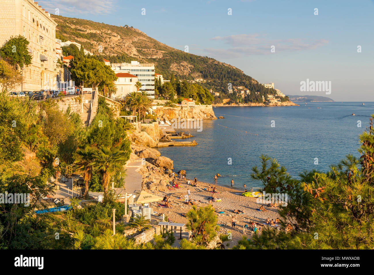 View over Banje Beach outside the old town of Dubrovnik, Croatia, Europe Stock Photo