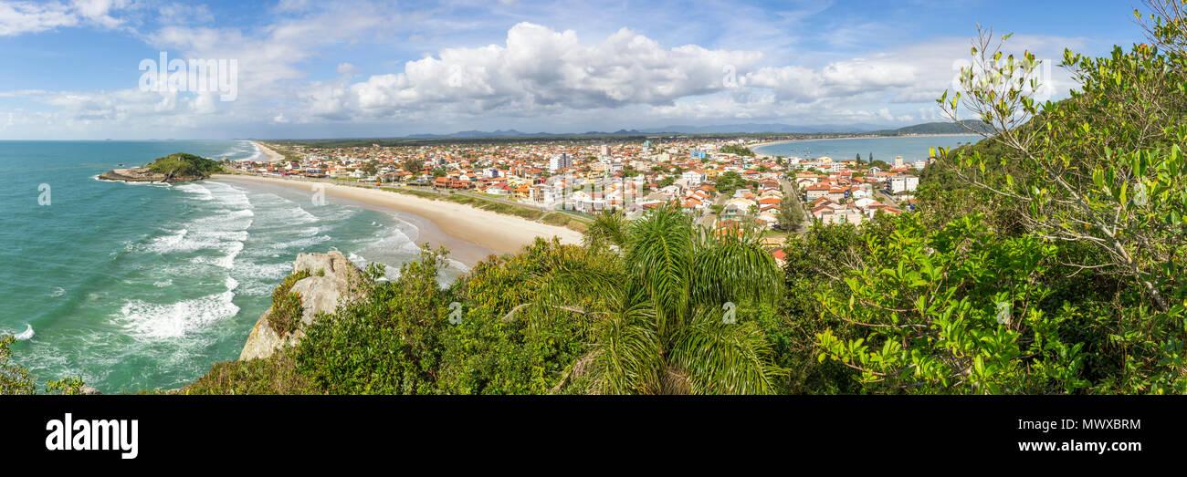 Elevated view over Saudade Beach, Sao Francisco do Sul, Santa Catarina, Brazil, South America - Stock Image