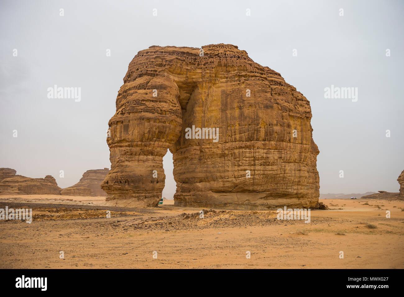 Giant arch in the Elephant rock, Al Ula, Saudi Arabia, Middle East - Stock Image