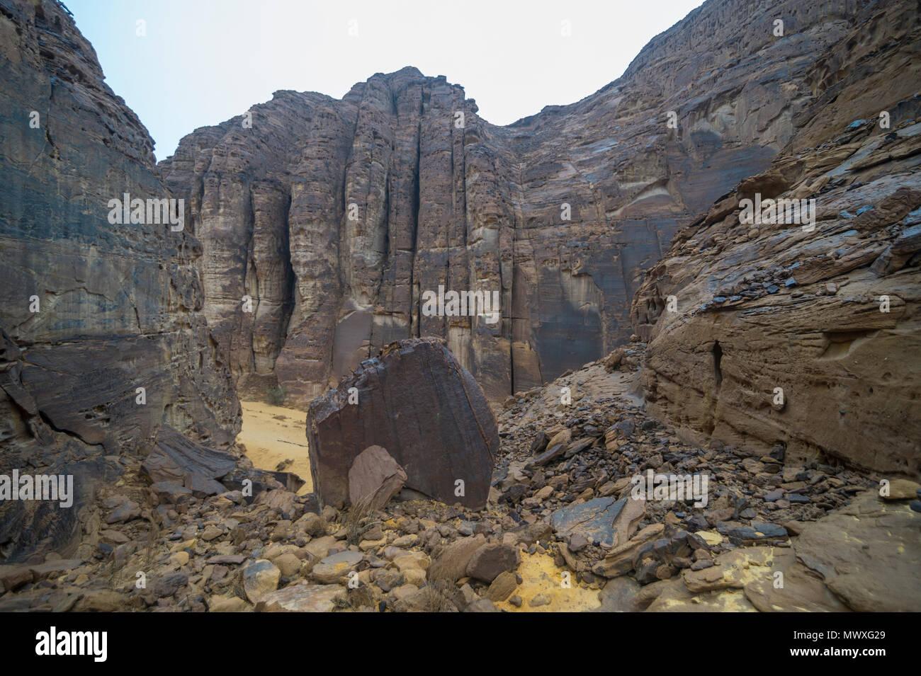 Beautiful rock formations near the Sahary Al-Ula Resort, Al Ula, Saudi Arabia, Middle East - Stock Image