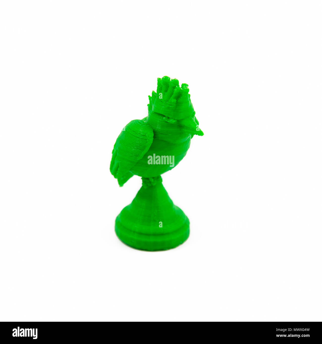 3D Printed Model Of A Bird Isolated On White Background - Stock Image