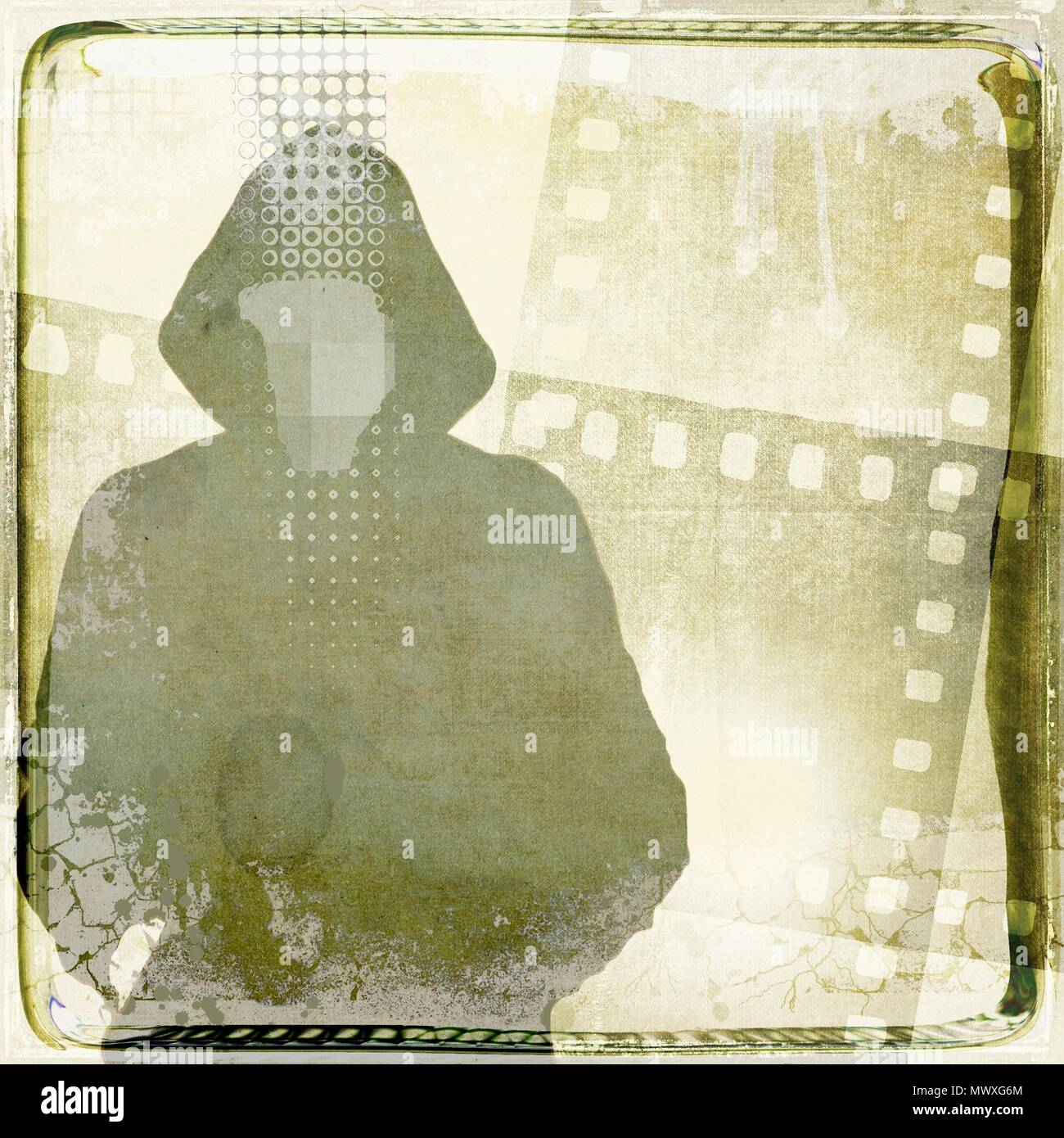 Grunge single man with hooded sweatshirt silhouette on film strip background. Sepia tones. - Stock Image