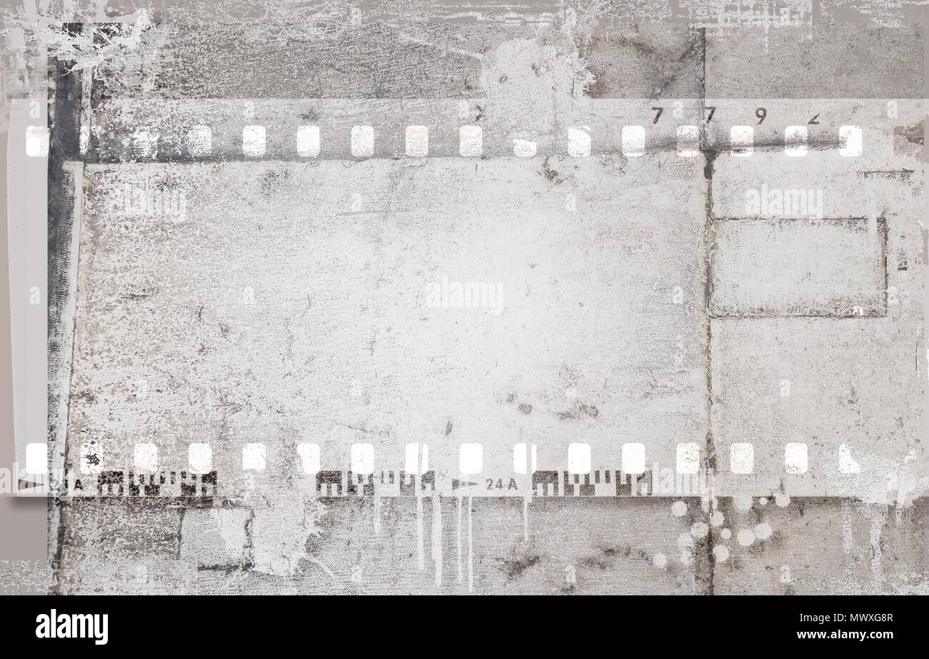Grunge dripping film strip frame in gray tones. Stone surface. - Stock Image