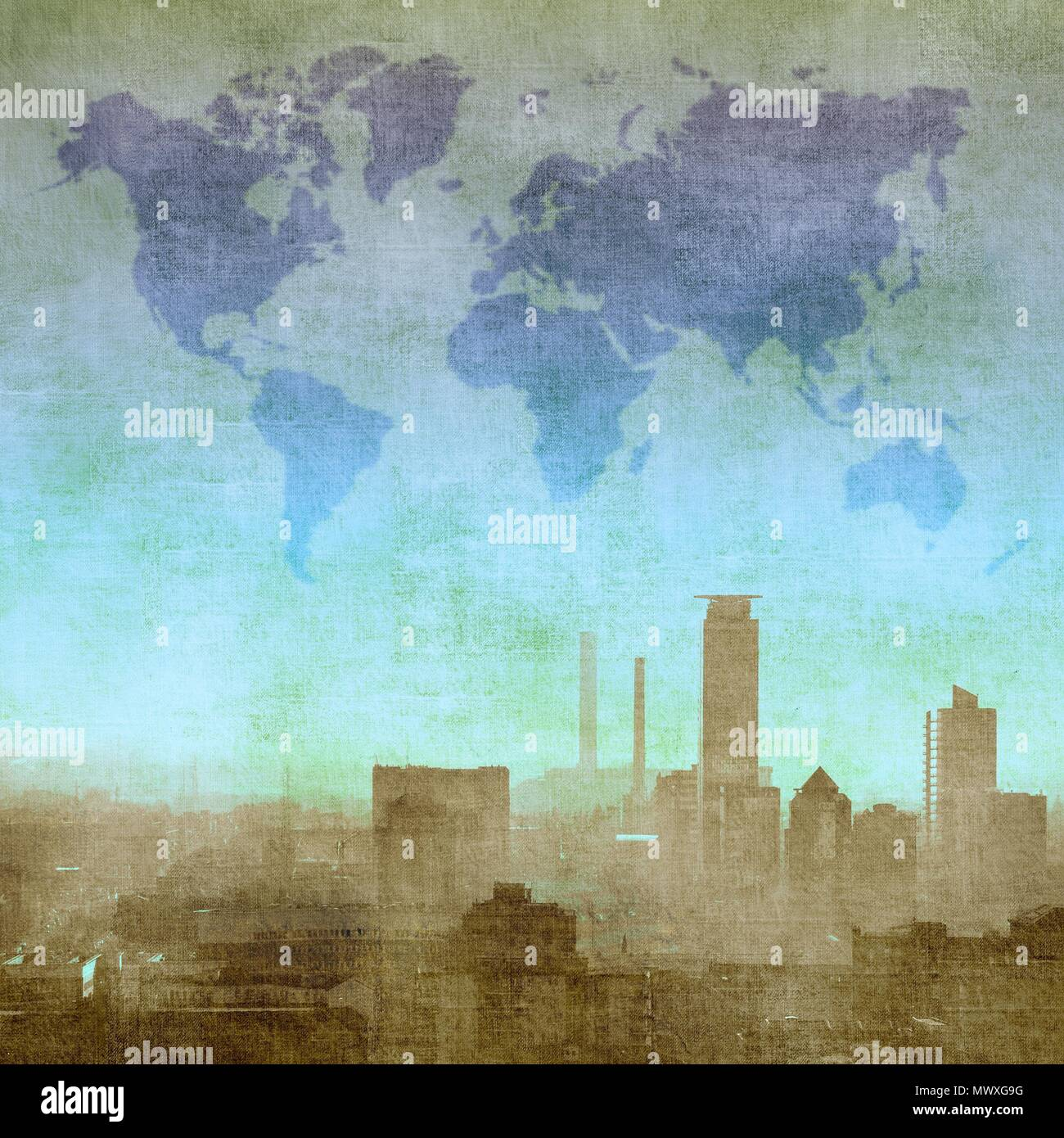 Grunge textured city skyline with world map in the sky elements of grunge textured city skyline with world map in the sky elements of this image furnished by nasa gumiabroncs Image collections
