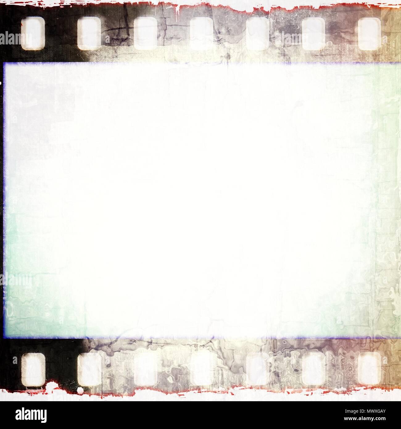 Vintage squared film strip frame in sepia tones. - Stock Image