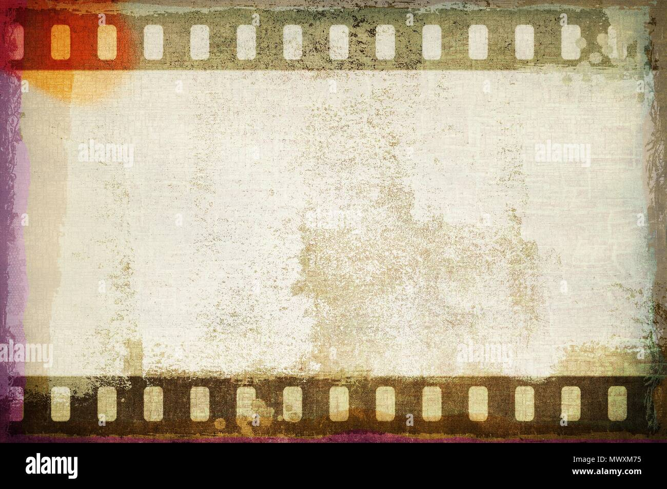Grunge dripping film strip frame in sepia tones. - Stock Image