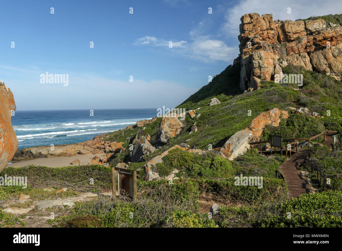 Rock outcrop ans seascape in the Robberg nature reserve, garden route, south africa Stock Photo