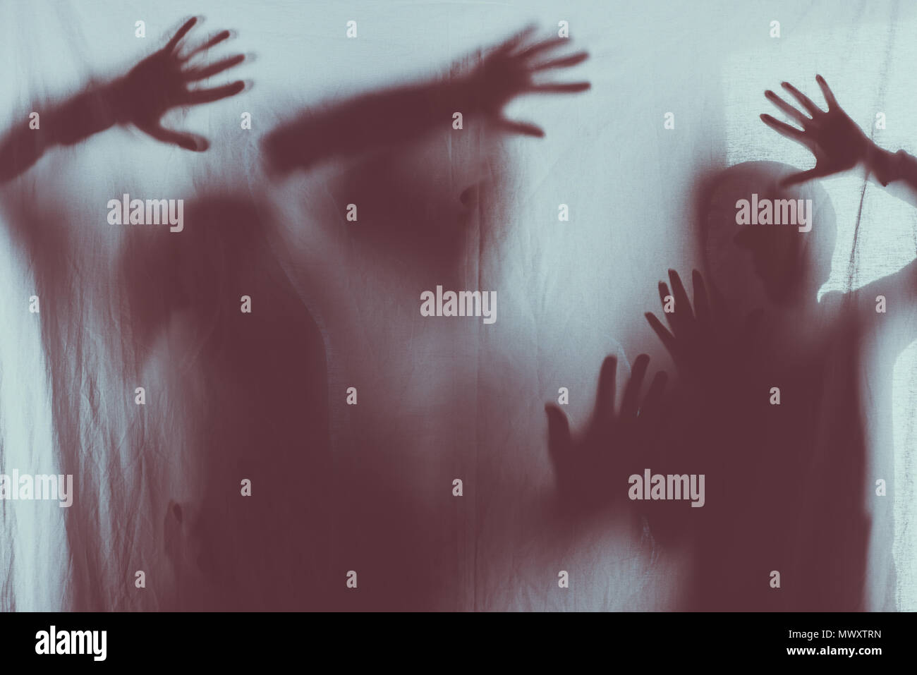 blurry scary silhouettes of people touching frosted glass with hands - Stock Image
