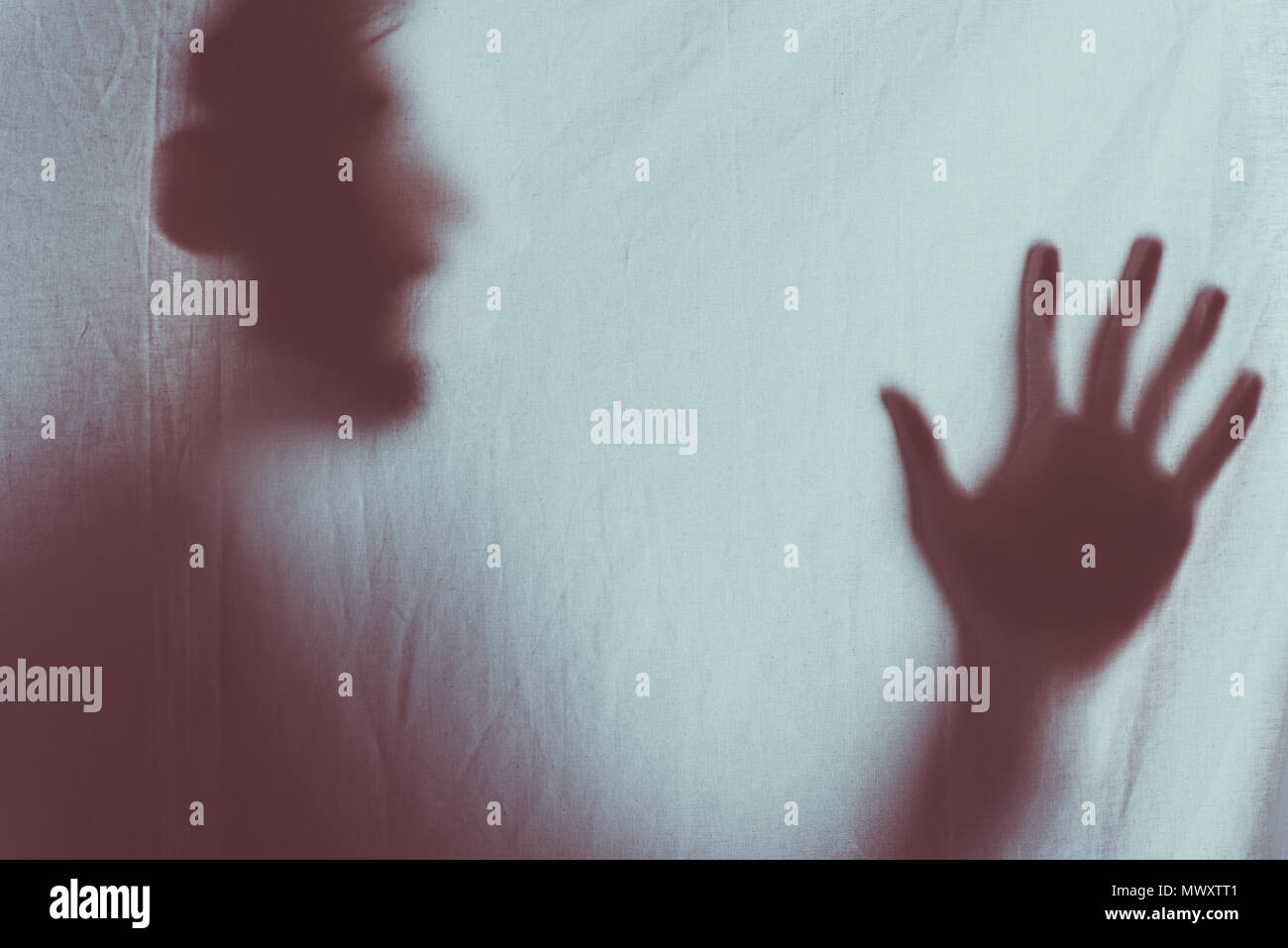 scary blurry silhouette of unrecognizable person screaming behind veil - Stock Image