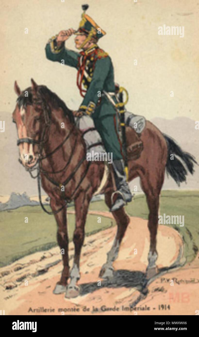 . English: 1914 Postcard. 1914. Unknown 620 Un cavalry - Stock Image