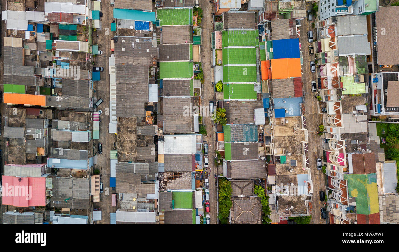 drone shot over Bangkok, Thailand - Stock Image