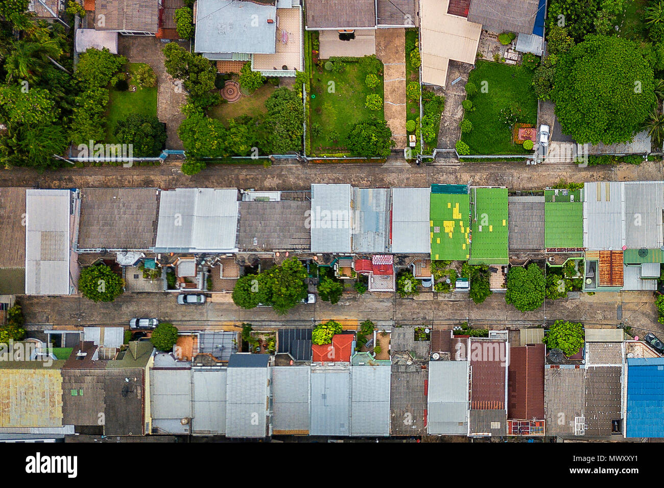 drone shot over Bangkok, Thailand Stock Photo