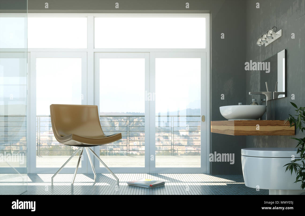 modern bathroom interior design 3d rendering scene Stock Photo ...