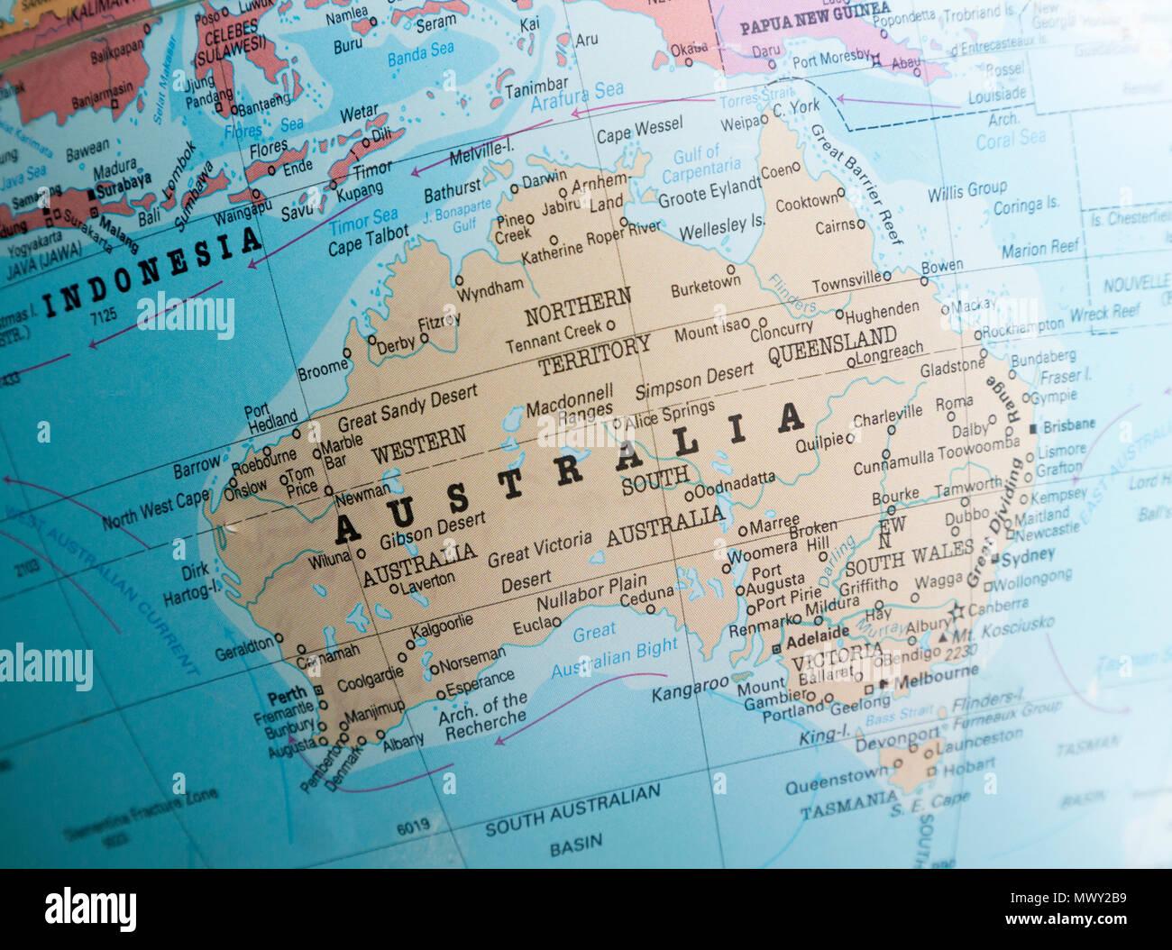 Political Map Australia On Globe Stock Photos & Political Map ...