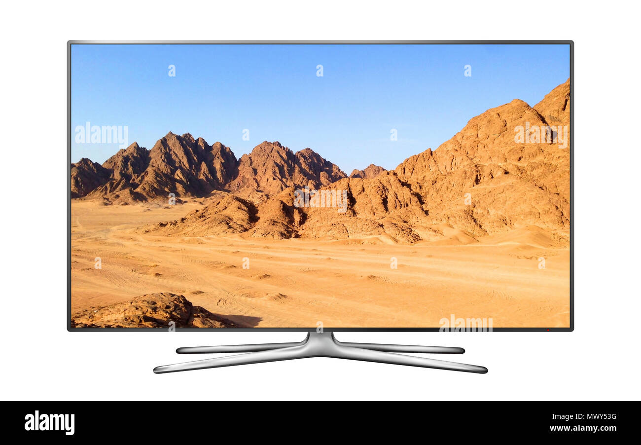 Modern Smart TV with mountain landscape on screen - Stock Image