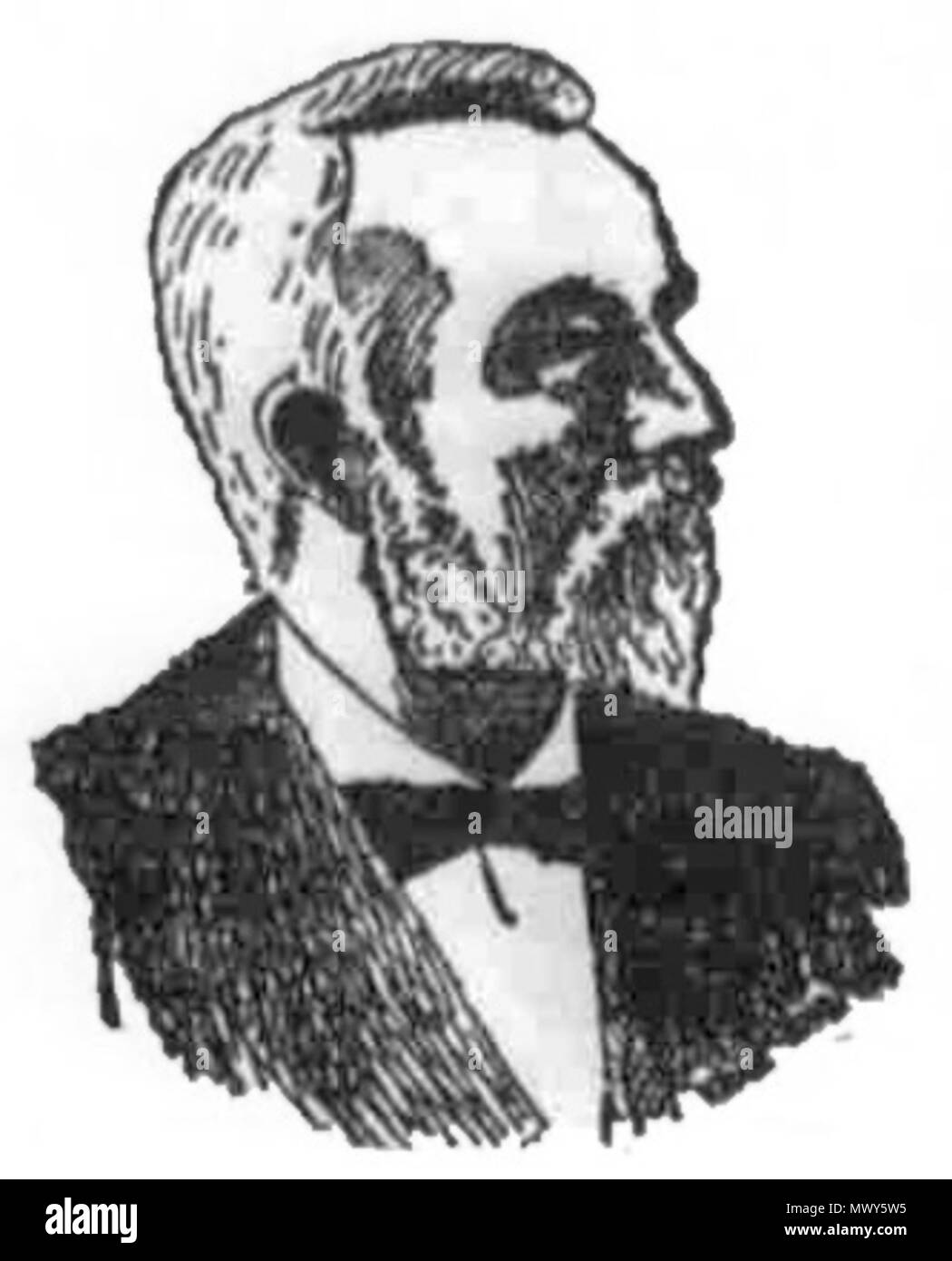. English: John Mott-Smith (1824–1895) was the first dentist to set up a permanant practice in the Kingdom of Hawaii, and a politician and diplomat. 1895. newspaper sketch 442 Newspaper Sketch of John Mott-Smith - Stock Image
