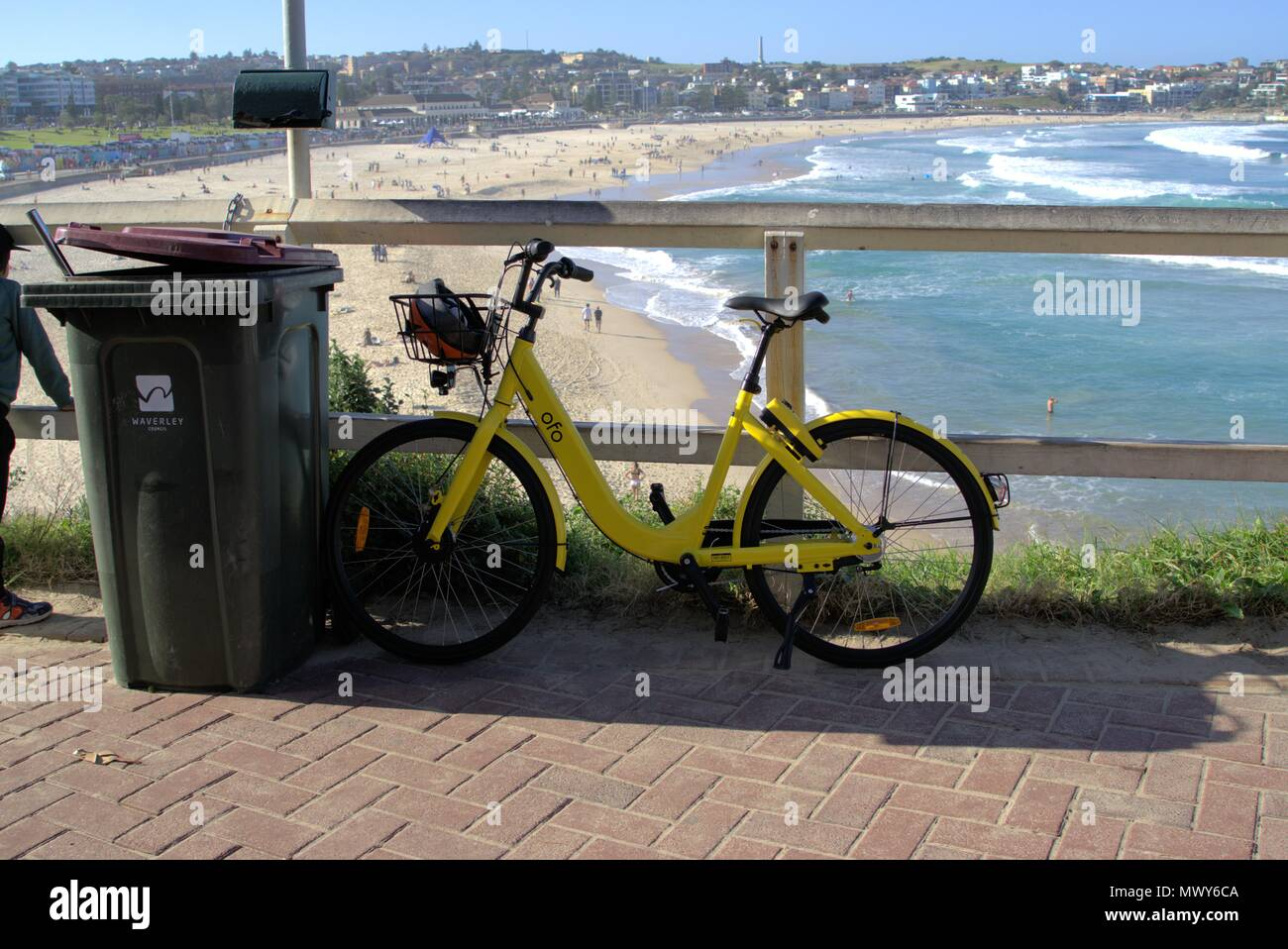 Ofo bike parked at Bondi beach in Sydney Australia. Ride sharing rental bicycle parked against garbage bin in Sydney. Illustrative editorial only. - Stock Image